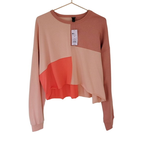 Wild Fable Colorblock Cropped Cut Off High Low Sweatshirt XL